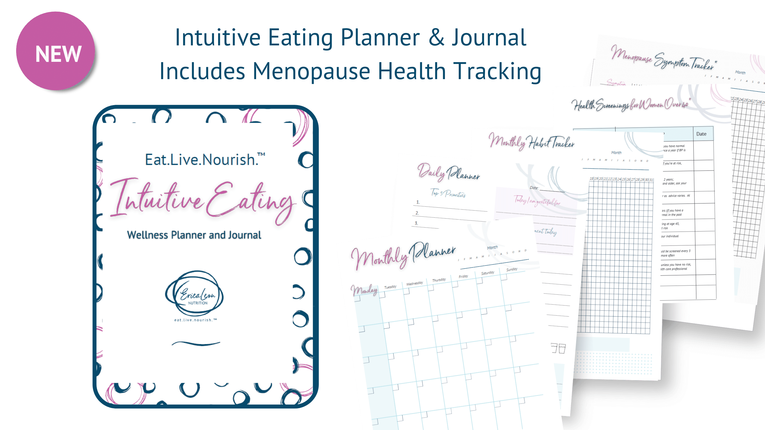Intuitive Eating Planner and journal for women in midlife menopause